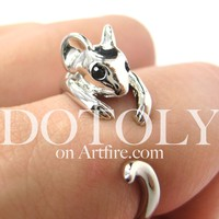 Miniature Mouse Animal Wrap Around Ring in SHINY Silver - Sizes 4 to 9