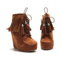 Casual Women's Short Boots With Lace-Up and Tassels Design
