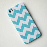 Tiffany Blue Chevron Fabric iPhone 5 Case