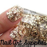 Liquid Gold - Large Gold Specks Glitter Nail Polish 9.8ml