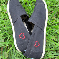 Little Hearts Custom Toms (Both Shoes)