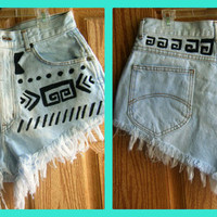 Tribal Aztec High Waisted Jean Shorts