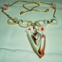 Pink Mermaid Necklace w/ Mother of Pearl & Strombus Luhuanus Shell