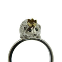 Hedgehog Ring Silver with Black Diamond eyes and an by Rockcakes