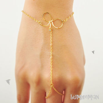 10% SALE SHOP/ Delicate Thin Ribbon with Mini CZ Embedded on Cable Chain, Hand Ornament and Ring Wrap, Extension, Bracelet