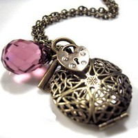 Locket Brass Filigree Antique Gold Necklace