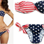 STARS and STRIPES USA PADDED TWISTED BANDEAU tube BIKINI AMERICAN FLAG SWIMWEAR