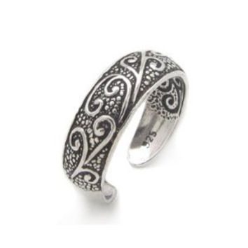 Antiqued Sterling Silver Toe Ring with Flourishing Vines: Jewelry: Amazon.com