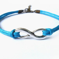Bangle infinity wrist bracelet ropes bracelet women bracelet girls bracelet with silver infinity and blue cotton rope SH-0294