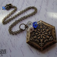 JACK FROST - Snowflake Locket Necklace Antiqued Brass Embossed Hexagon Winter Snow Swarovski Crystal Blue Winter Cold White Czech Glass