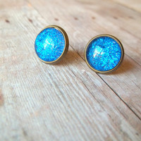 B L U E - Bright Cobalt Royal Blue Glitter Sparkle Photo Glass Cab Circle Bronze Post Stud Earrings