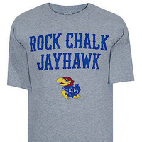 Kansas Jayhawks Kansas Grey Rock Chalk Jayhawk Tee Shirt