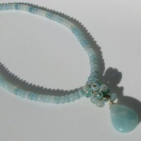Light Blue Amazonite Beaded Necklace with Cluster 19 inches