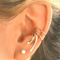 The Wave with 2 Cubic Zirconia. Gold Vermeil or Sterling Silver Ear Cuffs Earrings