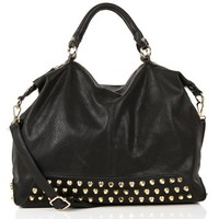 Black Studded Bottom Handbag