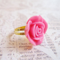 Adjustable Ring - Magenta Hot Pink Hime Gyaru Flower Ring - Kawaii Lolita Rose Ring - Gold, Silver Band - Cosplay - One Size