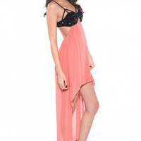 Jeweled Bust High-Low Dress