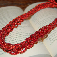 Red Knit Statement Necklace.  Red Knit Headband.  Stocking Stuffer.  Free Gift Wrap.