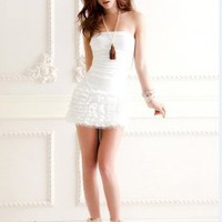 Wholesale Sexy Off Shoulder Layered Slim Dress White http://www.wholesale-dress.net