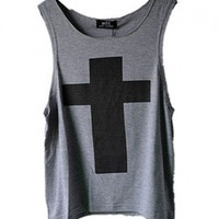 Gray Tank with Oversized Cross Print