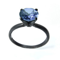 Ice Blue Sapphire Ring, Silver Cocktail Ring, Sterling Jewelry, Engagement Ring