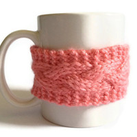 Mug Cozy Coffee Cozy Coffee Sleeve Cup Cozy Cable Knit in Strawberry Pink