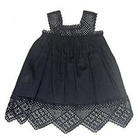 Twelfth Street Baby by Cynthia Vincent - ON SALE!! Navy Crochet Trim Dress - Twelfth Street Baby by Cynthia Vincent