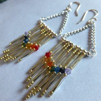 Unique Long Dangle Seven Chakras Clearing Earrings