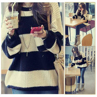 Womens Long Sleeve Round Neck Pullover Jumper Casual Loose Top Knitwear Sweater