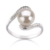PearlsOnly Chantel White 9.0-9.5mm AA Freshwater Sterling Silver With Rhodium Plated Cultured Pearl Ring: Jewelry: Amazon.com