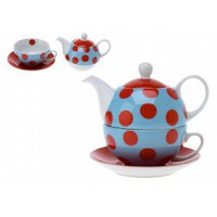 Tea Set For One Polka Dots Red