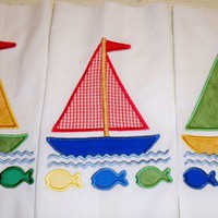Sailboat machine embroidery applique quilt blocks