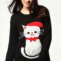 Perrie Knit Christmas Kitten Jumper