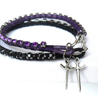 Black rhinestone Friendship Bracelet sword charm  Metallic summer 2012 Game of thrones