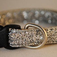 "METALLIC SILVER GLITTER - 3/8"" Adjustable Dog Collar"