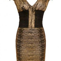 Metallic Gold Bodycon Bandage Dress