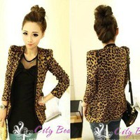 Fashion Women's Shoulder Pads Leopard Suit Slim Long Sleeve Coat HK