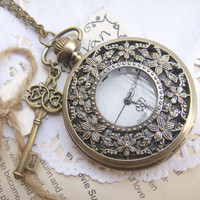 big enchase flower pocket watch necklace by GeluguAccessories