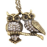 Vintage Antique Brass Owl Lovers Pendant Chain Necklace at Online Cheap Vintage Jewelry Store Gofavor