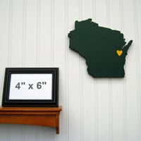 Green Bay Packers &quot;State Heart&quot; wall art, handcrafted wood featuring official team colors