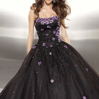 Mori Lee 2011 Prom Dresses! Strapless Tulle Gown With Three Dimensional Flowers- Size 0-18 - Unique Vintage