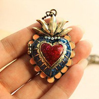 Vintage Long Chain Heart Pendant Rhinestone Locket Necklace at Online Vintage Jewelry Store   Gofavor