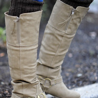 Finders Keepers Riding Boots: Taupe | Hope's
