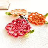 Spring Garden  crochet flower hair clip set of 3. Floral hair accessories for  toddles teens baby girl