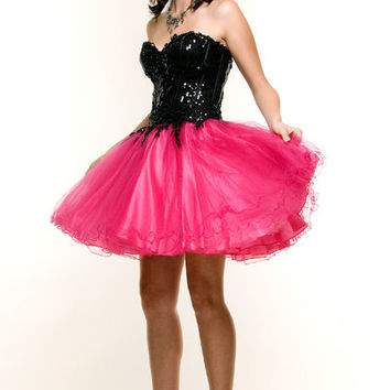 Black & Fuchsia Sequin and Puff Tulle Party Homecoming Dress - XS to 2XL - Unique Vintage