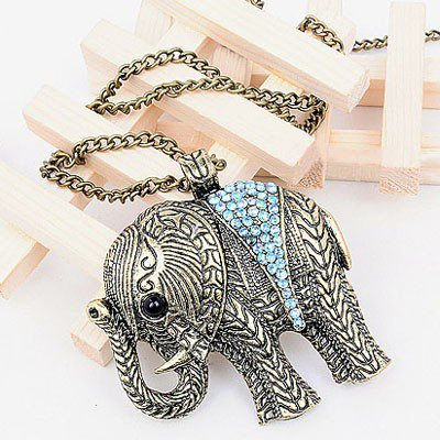 $2.99 Classic Carved Elephant Rhinestone Pendant Chain Necklace Gofavor