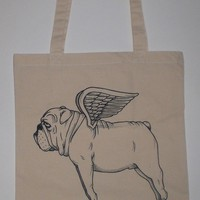 Flying Bulldog Canvas Shopping Tote Bag by MisNopalesArt on Etsy