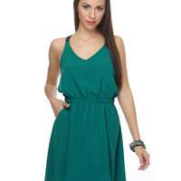 Summery Teal Dress - CrissCross Back Dress - $41.00