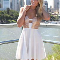 White Skater Dress with Gold Sequin Bodice&Criss Cross Back