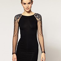 Warehouse | Warehouse Embellished Mesh Sleeve Dress at ASOS
